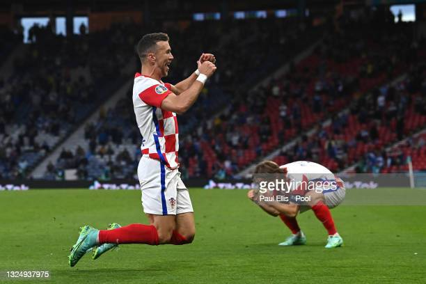 Ivan Perisic of Croatia celebrates with teammate Luka Modric after scoring their side's third goal during the UEFA Euro 2020 Championship Group D...