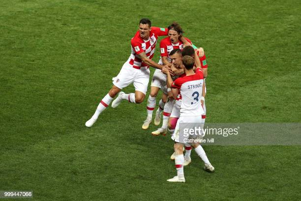 Ivan Perisic of Croatia celebrates with teammates after scoring his team's first goal during the 2018 FIFA World Cup Final between France and Croatia...