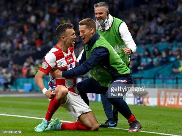 Ivan Perisic of Croatia celebrates with teammates after scoring their side's third goal during the UEFA Euro 2020 Championship Group D match between...