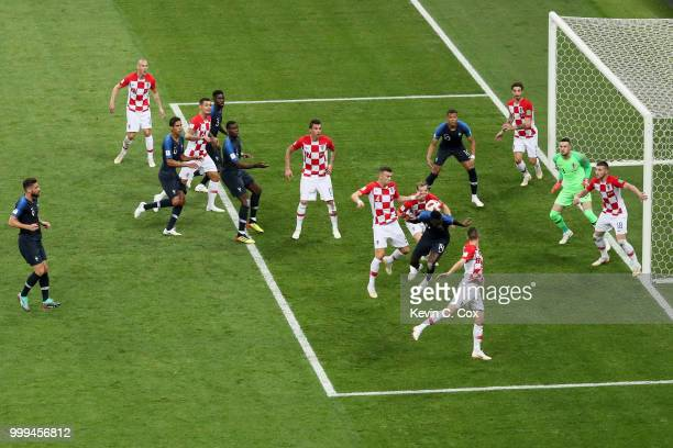 Ivan Perisic of Croatia handles the ball inside the penalty area leading to a VAR review and then a France penalty being awarded during the 2018 FIFA...