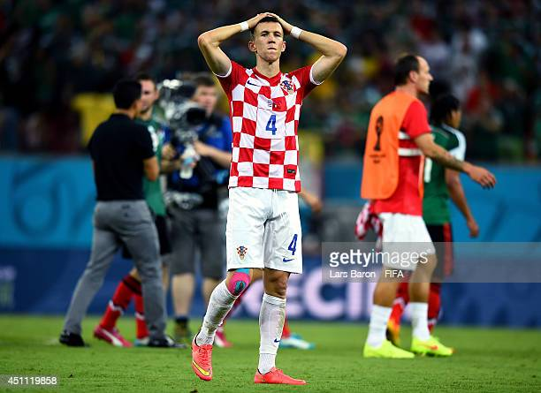 Ivan Perisic of Croatia reacts after losing the 2014 FIFA World Cup Brazil Group A match between Croatia and Mexico at Arena Pernambuco on June 23...