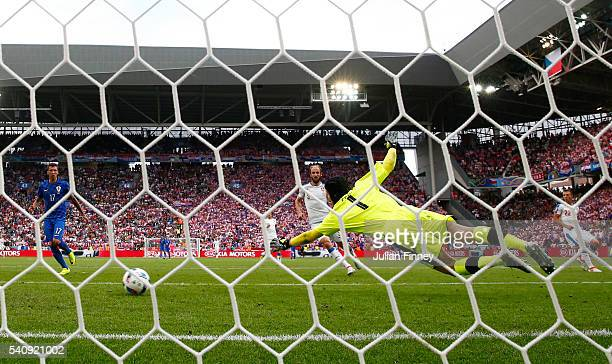 Ivan Perisic of Croatia scores his sides first goal as Petr Cech of Czech Republic attempts to save during the UEFA EURO 2016 Group D match between...
