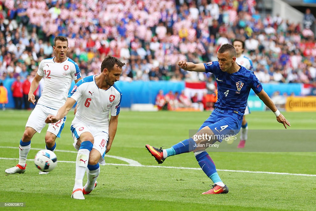 Ivan Perisic of Croatia scores his sides first goal during the UEFA EURO 2016 Group D match between Czech Republic and Croatia at Stade Geoffroy-Guichard on June 17, 2016 in Saint-Etienne, France.