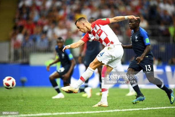 Ivan Perisic of Croatia scores his team's first goal during the 2018 FIFA World Cup Final between France and Croatia at Luzhniki Stadium on July 15,...