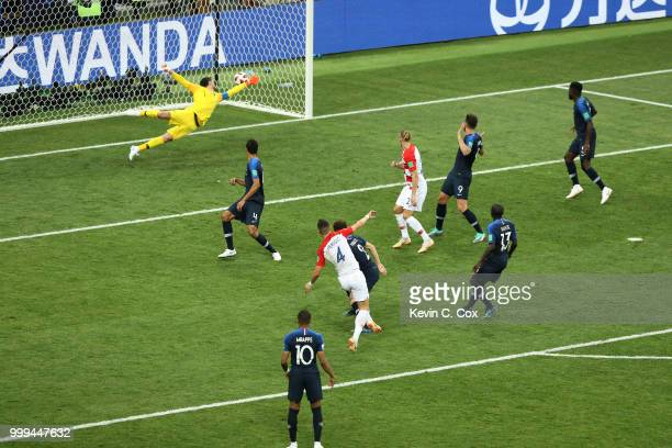 Ivan Perisic of Croatia scores his team's first goal during the 2018 FIFA World Cup Final between France and Croatia at Luzhniki Stadium on July 15...