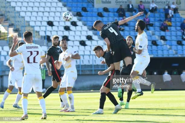 Ivan Perisic of Croatia scores his team's first goal during the international friendly match between Croatia and Armenia at Gradski Stadium on June...