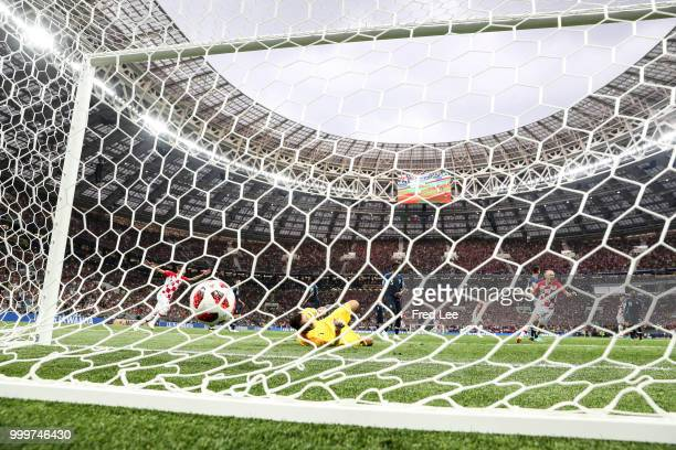 Ivan Perisic of Croatia scores his team's first goal over Hugo Lloris of France to make the score 11 during the 2018 FIFA World Cup Final between...