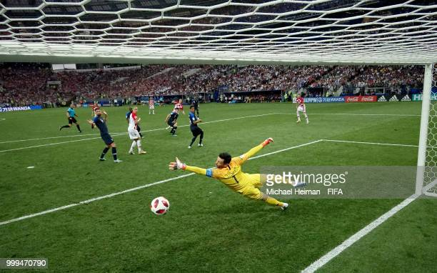 Ivan Perisic of Croatia scores his team's first goal pass Hugo Lloris of France to make the score 11 during the 2018 FIFA World Cup Final between...