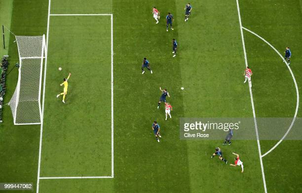 Ivan Perisic of Croatia scores his team's first goal to make the score 11 during the 2018 FIFA World Cup Final between France and Croatia at Luzhniki...