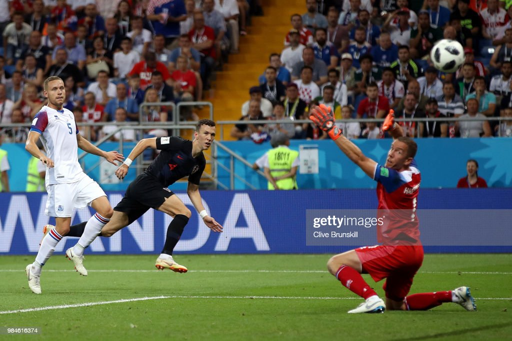Ivan Perisic of Croatia scores his team's second goal during the 2018 FIFA World Cup Russia group D match between Iceland and Croatia at Rostov Arena on June 26, 2018 in Rostov-on-Don, Russia.