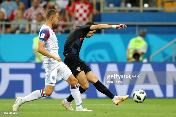 Ivan Perisic of Croatia scores his team's second goal during the 2018 FIFA World Cup Russia group D match between Iceland and Croatia at Rostov Arena...
