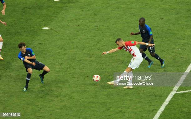 Ivan Perisic of Croatia scores the equalising goal during the 2018 FIFA World Cup Russia Final between France and Croatia at the Luzhniki Stadium on...