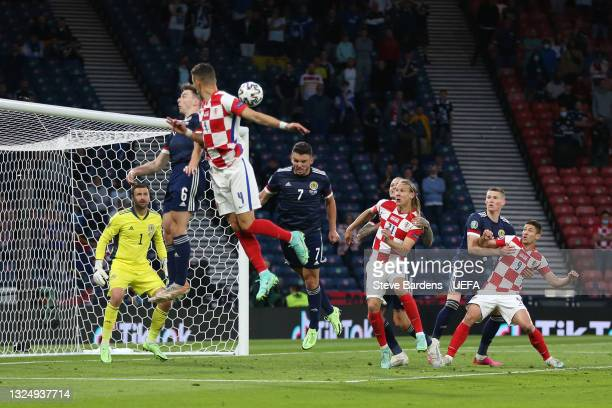 Ivan Perisic of Croatia scores their side's third goal past David Marshall of Scotland during the UEFA Euro 2020 Championship Group D match between...