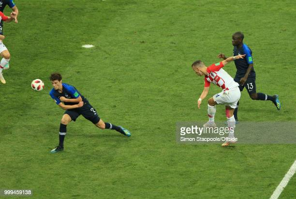 Ivan Perisic of Croatia scores to make the score 11 during the 2018 FIFA World Cup Russia Final between France and Croatia at the Luzhniki Stadium on...