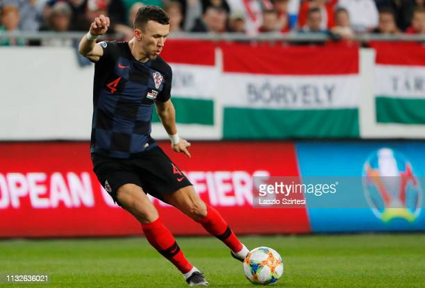 Ivan Perisic of Croatia shoots on target during the 2020 UEFA European Championships group E qualifying match between Hungary and Croatia at Groupama...
