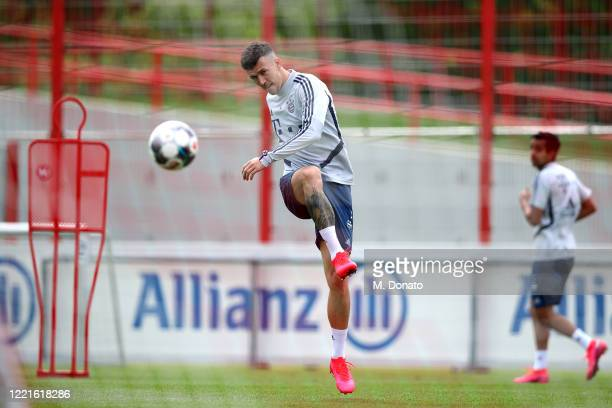 Ivan Perisic of FC Bayern Muenchen plays the ball during a training session at Saebener Strasse training ground on April 28 2020 in Munich Germany