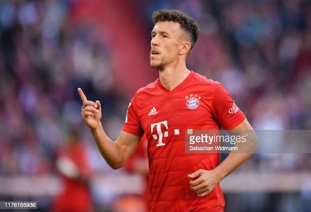 Ivan Perisic of FC Bayern Munich celebrates after scoring his team's fourth goal during the Bundesliga match between FC Bayern Muenchen and 1. FC...