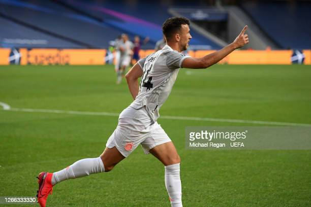 Ivan Perisic of FC Bayern Munich celebrates after scoring his team's second goal during the UEFA Champions League Quarter Final match between...