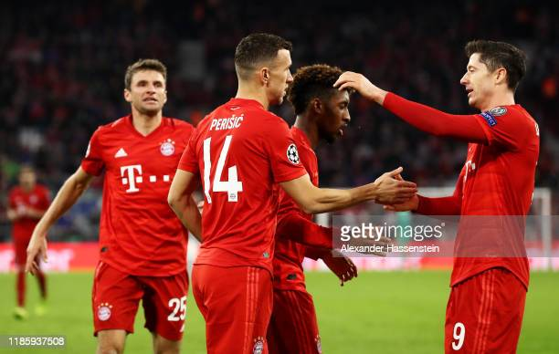 Ivan Perisic of FC Bayern Munich celebrates with teammates Robert Lewandowski and Serge Gnabry after scoring his team's second goal during the UEFA...