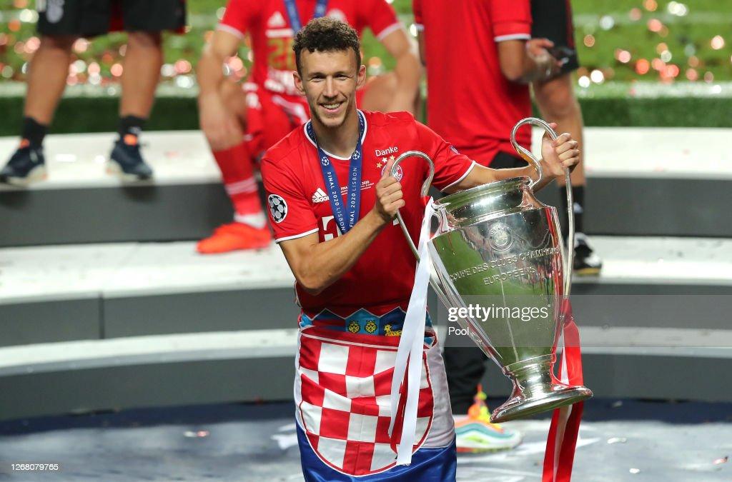 Ivan Perisic of FC Bayern Munich celebrates with the UEFA ...