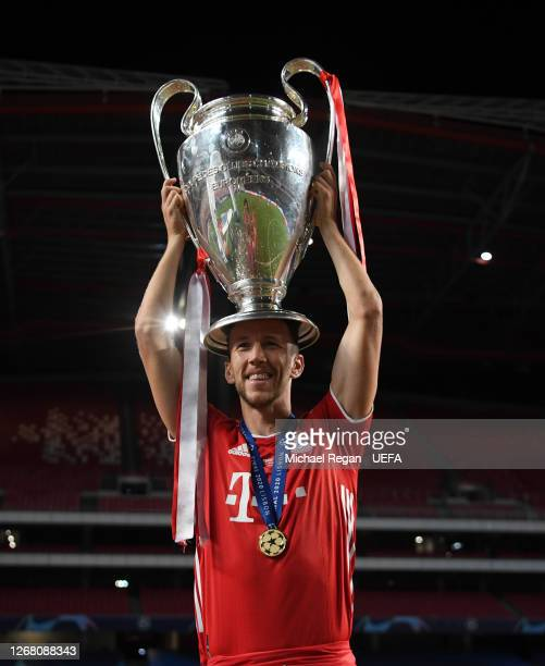 Ivan Perisic of FC Bayern Munich celebrates with the UEFA Champions League Trophy following his team's victory in the UEFA Champions League Final...