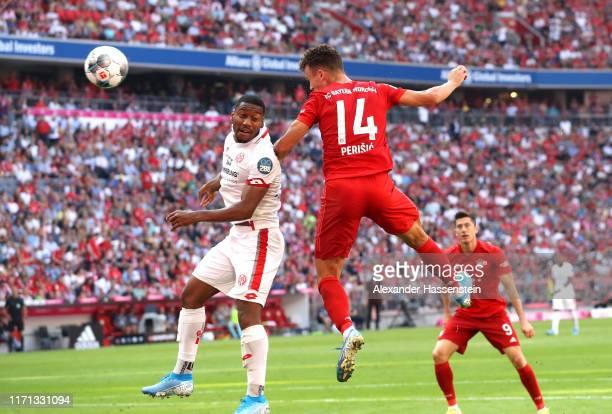 Ivan Perisic of FC Bayern Munich scores his team's third goal during the Bundesliga match between FC Bayern Muenchen and 1. FSV Mainz 05 at Allianz...