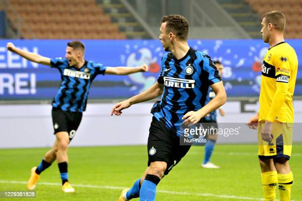 Ivan Perisic of FC Internazionale after scoring his goal during the Serie A match between FC Internazionale and Parma Calcio at Stadio Giuseppe...