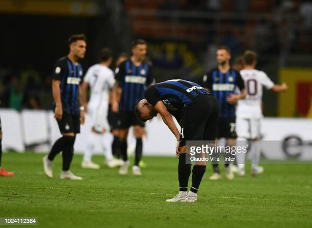 Ivan Perisic of FC Internazionale at the end the serie A match between FC Internazionale and Torino FC at Stadio Giuseppe Meazza on August 26 2018 in...