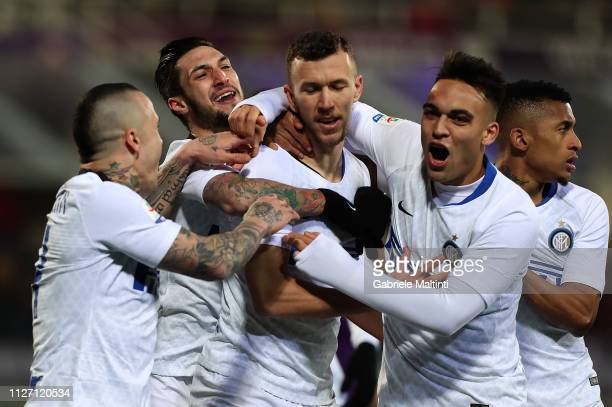 Ivan Perisic of FC Internazionale celebrates after scoring a goal during the Serie A match between ACF Fiorentina and FC Internazionale at Stadio...