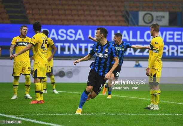 Ivan Perisic of FC Internazionale celebrates after scoring the equalizing goal during the Serie A match between FC Internazionale and Parma Calcio at...
