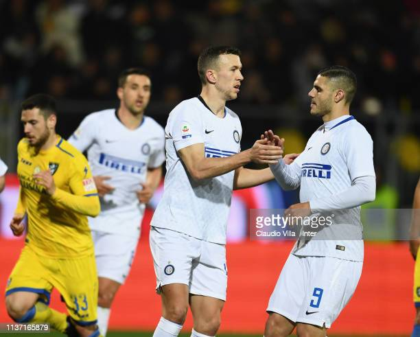 Ivan Perisic of FC Internazionale celebrates after scoring the second goal during the Serie A match between Frosinone Calcio and FC Internazionale at...