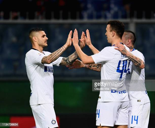 Ivan Perisic of FC Internazionale celebrates after scoring the third goal during the Serie A match between Genoa CFC and FC Internazionale at Stadio...