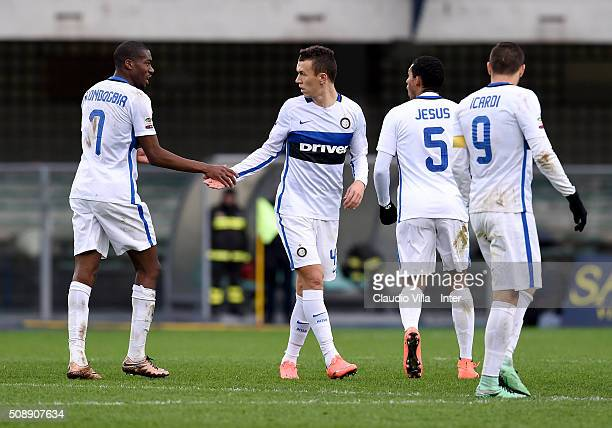 Ivan Perisic of FC Internazionale celebrates after scoring the third goal during the Serie A match between Hellas Verona FC and FC Internazionale...