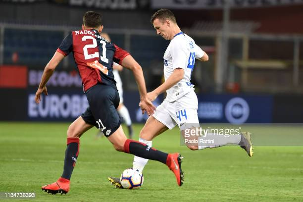 Ivan Perisic of FC Internazionale in action during the Serie A match between Genoa CFC and FC Internazionale at Stadio Luigi Ferraris on April 3 2019...