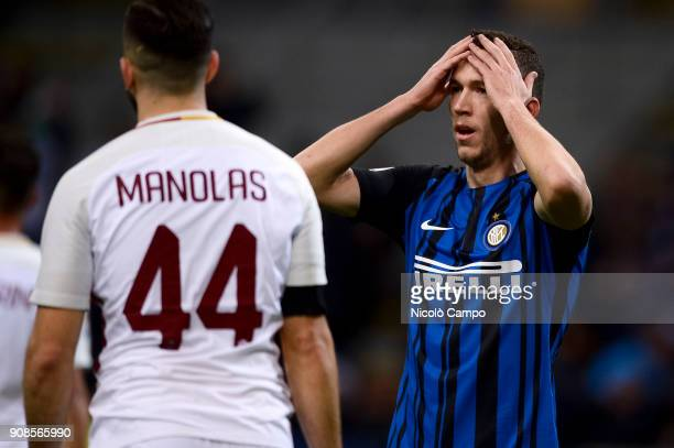 Ivan Perisic of FC Internazionale is disappointed after missing a chance during the Serie A football match between FC Internazionale and AS Roma The...