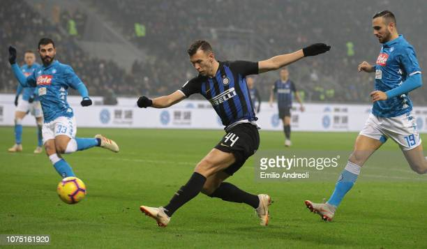 Ivan Perisic of FC Internazionale kicks the ball and misses a chance of goal during the Serie A match between FC Internazionale and SSC Napoli at...