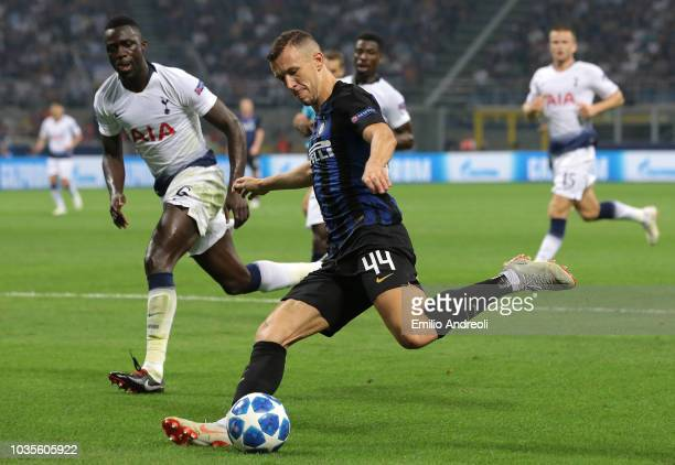 Ivan Perisic of FC Internazionale kicks the ball during the Group B match of the UEFA Champions League between FC Internazionale and Tottenham...