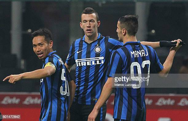 Ivan Perisic of FC Internazionale Milano celebrates his goal with his teammates Rey Manaj and Yuto Nagatomo during the TIM Cup match between FC...
