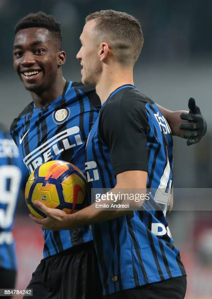 Ivan Perisic of FC Internazionale Milano celebrates his third goal with his teammate Yann Karamoh during the Serie A match between FC Internazionale...