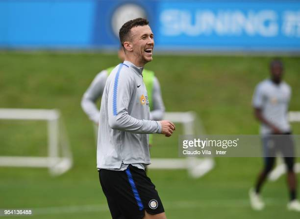 Ivan Perisic of FC Internazionale reacts during the FC Internazionale training session at the club's training ground Suning Training Center in memory...