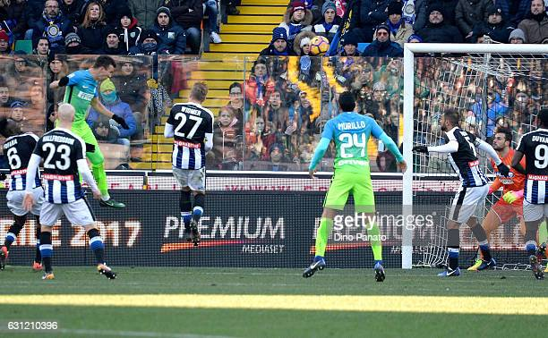 Ivan Perisic of FC Internazionale scores his team's second goal during the Serie A match between Udinese Calcio and FC Internazionale at Stadio...