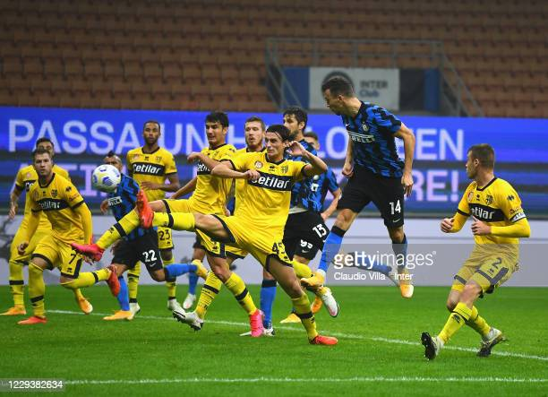 Ivan Perisic of FC Internazionale scores the second goal of his team during the Serie A match between FC Internazionale and Parma Calcio at Stadio...