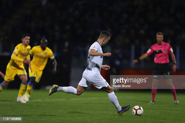 Ivan Perisic of FC Internazionale scores the team's second goal from penalty spot during the Serie A match between Frosinone Calcio and FC...