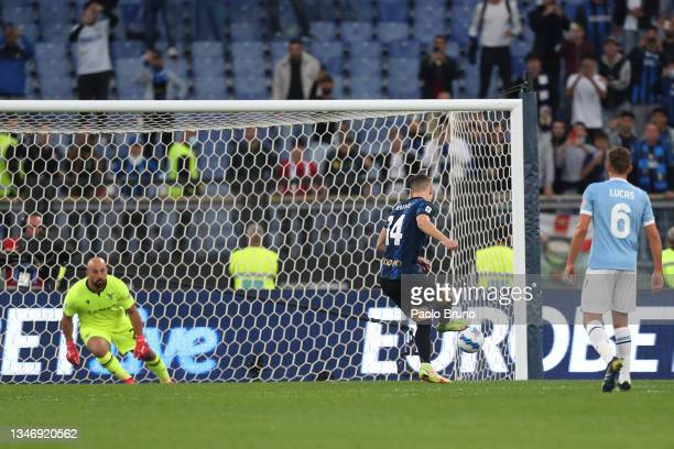 Ivan Perisic of FC Internazionale scores their team's first goal from a penalty during the Serie A match between SS Lazio and FC Internazionale at...