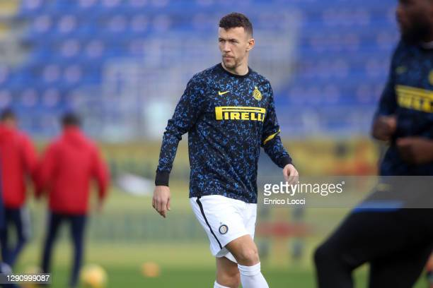 Ivan Perisic of Inter in action during the Serie A match between Cagliari Calcio and FC Internazionale at Sardegna Arena on December 13, 2020 in...