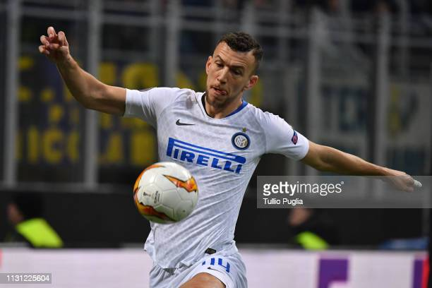 Ivan Perisic of Inter in action during the UEFA Europa League Round of 32 Second Leg match between FC Internazionale and SK Rapid Wien at San Siro on...