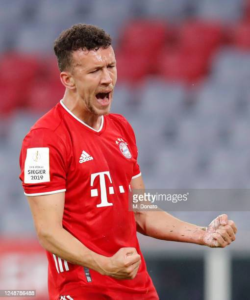 Ivan Perisic of Muenchen celebrates his team's first goal during the DFB Cup semifinal match between FC Bayern Muenchen and Eintracht Frankfurt at...