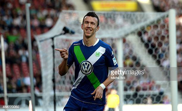Ivan Perisic of Wolfsburg celebrates after scoring the opening/first goal during the Bundesliga match between VfB Stuttgart and VfL Wolfsburg at...