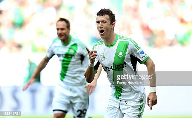 Ivan Perisic of Wolfsburg celebrates his team's opening goal with Jan Polak of Wolfsburg during the Bundesliga match between VfL Wolfsburg and SC...