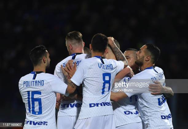 Ivan Perisic with his teammates of FC Internazionale celebrates after scoring the team's second goal from penalty spot during the Serie A match...